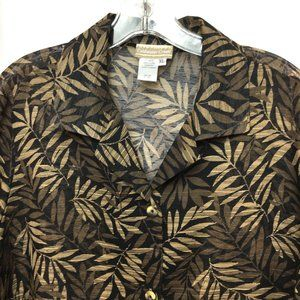 Coldwater Creek  Hawaiian Leaves LS Blouse Shirt